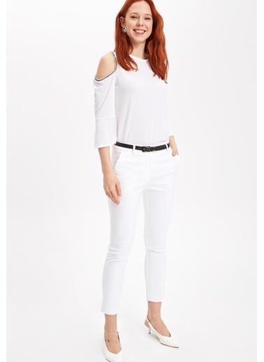 DeFacto Omzu Açık Uzun Kollu Bluz Beyaz